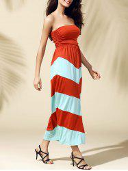Bandeau Stripe Tube Top Maxi Summer Dress