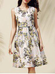 Sweet Zipper Design Floral Print Dress For Women