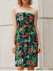 Bohemian Style Floral Print Strapless Dress For Women -