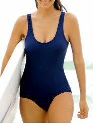 Stylish Scoop Neck Solid Color One-Piece Women's Swimwear