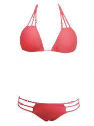 Alluring Spaghetti Straps Hollow Out Bikini Set For Women - WATERMELON RED S