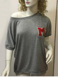 Stylish Women's Letter Grey Short Sleeve T-Shirt