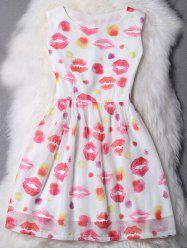 Sweet Jewel Collar Sleeveless Lips Print Dress For Women