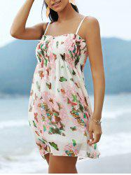Sweet Spaghetti Strap Butterfly Pattern Women's Mini Dress -