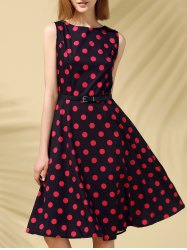 Retro Style Polka Dot Fit and Flare Dress -
