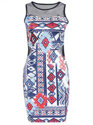 Women's Chic Sleeveless Ethnic Print Voile spliced T-Shirt -