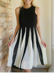 Chic Jewel Neck Sleeveless Mesh Splicing Color Block Dress For Women