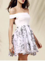 Off-The-Shoulder Organza Spliced Floral Ball Gown Dress