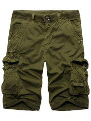 Fashion Solid Color Cargo Shorts For Men - ARMY GREEN