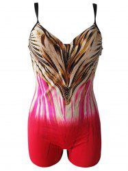 Trendy Plus Size Spaghetti Strap Cut Out Colorful Print One-Piece Women's Swimwear - RED 6XL