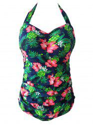 Chic Plus Size Halter Pineapple And Flower Print One-Piece Women's Swimwear