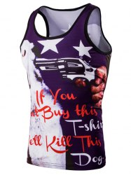 Trendy 3D Men's Round Neck Letter And Stars Printed Tank Top - COLORMIX