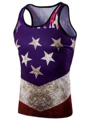 Fashion 3D Round Neck American Flag Printed Tank Top For Men - COLORMIX