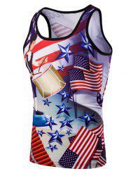 3D Slimming Fit Round Neck American Flag Printed Tank Top For Men - COLORMIX