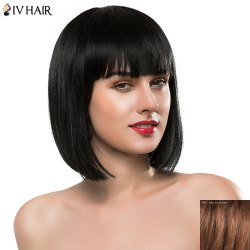 Bob Style Straight Siv Hair Capless Sweet Full Bang Short Real Natural Hair Wig For Women - AUBURN BROWN