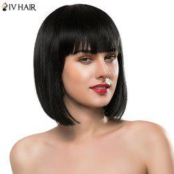 Bob Style Straight Siv Hair Capless Sweet Full Bang Short Real Natural Hair Wig For Women - JET BLACK