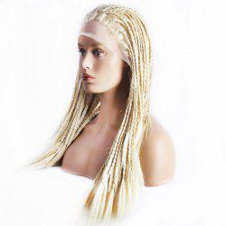 Stunning Blonde Braided Hair Long Heat Resistant Fiber Lace Front Wig For Women