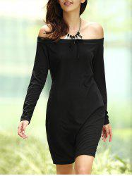 Trendy Off The Shoulder Long Sleeve Women's Mini Dress -