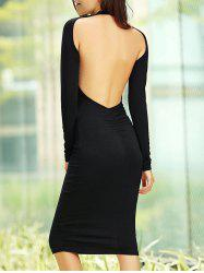 Backless Long Sleeve Bodycon Midi Cocktail Dress