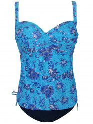 Chic Plus Size Spaghetti Strap Vintage Floral Print Women's Two Piece Swimsuit