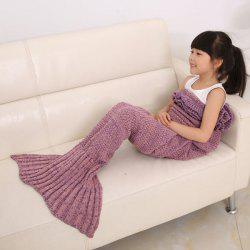 Flouncing Sleeping Bag Mermaid Design Knitted Blanket and Throws For Kids - PLUM
