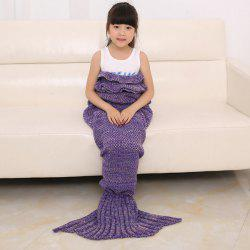 Flouncing Sleeping Bag Mermaid Design Knitted Blanket and Throws For Kids - PURPLE