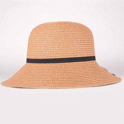 Summer Chic Black Lace-Up Sun-Resistant Straw Hat For Women -