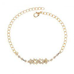 Gold Plated Faux Zircon Cross Foot Bracelet - GOLDEN