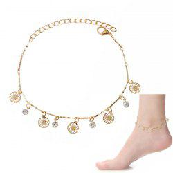 Chic Faux Zircon Hollow Out Foot Bracelet - GOLDEN
