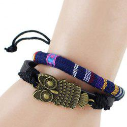 Multilayer PU Leather Night Owl Bracelet