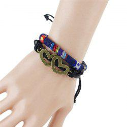 Hollow Double Hearts Embellished Tribal Wrap Bracelet - DEEP BLUE