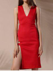 Chic Plunging Neck Sleeveless Hollow Out Zipper Design Skinny Women's Dress -