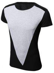 Vogue Men's Round Neck PU-Leather Spliced Short Sleeve T-Shirt -
