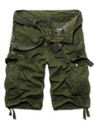 Fashion Zip Design Solid Color Cargo Shorts For Men - ARMY GREEN