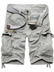 Fashion Zip Design Solid Color Cargo Shorts For Men - WHITE GREY