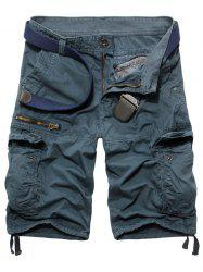 Fashion Zip Design Solid Color Cargo Shorts For Men - LIGHT BLUE