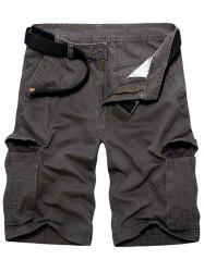 Casual Loose Fit Multi-Pockets Solid Color Cargo Shorts For Men - DEEP GRAY 38