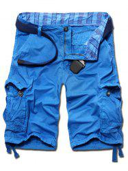 Casual Loose Fit Solid Color Cargo Shorts For Men - AZURE