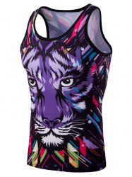 Personality Men's 3D Round Neck Leopard Head Printed Tank Top