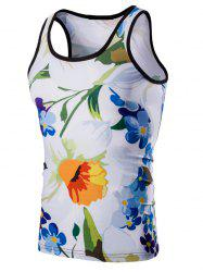 Casual 3D Round Neck Floral Printed Tank Top For Men