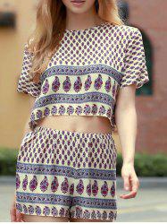 Short Sleeve Printed Cropped T-Shirt and Shorts Twinset For Women