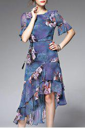 Asymmetric Flounce Floral Tea Length Dress - BLUE