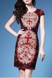 Scoop Neck Flower Embroidered Bodycon Dress -