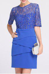 Lace Spliced Sequined Prom Dress -
