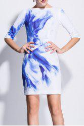 Boat Neck Waterdrop Print Bodycon Dress -