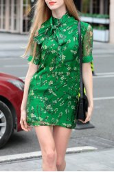 Stand Collar Floral Print Lace-Up Dress -