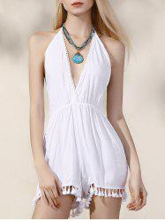Stylish Plunging Neck Backless Women's White Romper -