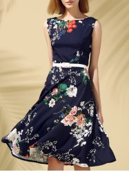 Floral Print Fit and Flare Midi Dress - PURPLISH BLUE L