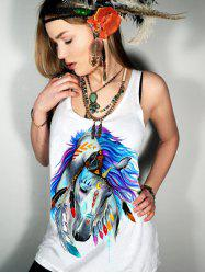 Scoop Neck Horse Print Graphic Tank Top - WHITE