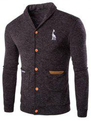 Casual Solid Color Cardigan For Men - BROWN